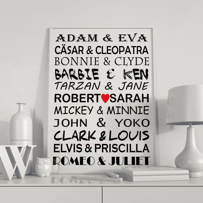 Personalisierter Hochzeitsdruck Hochzeits Poster Berühmte Paare