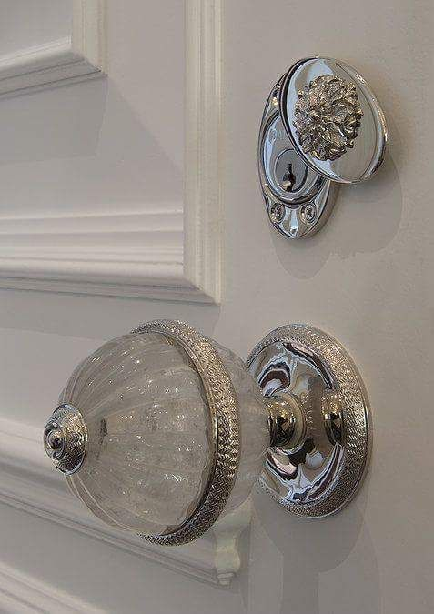 Decorative Crystal And Polished Chrome Door Knob With Lock