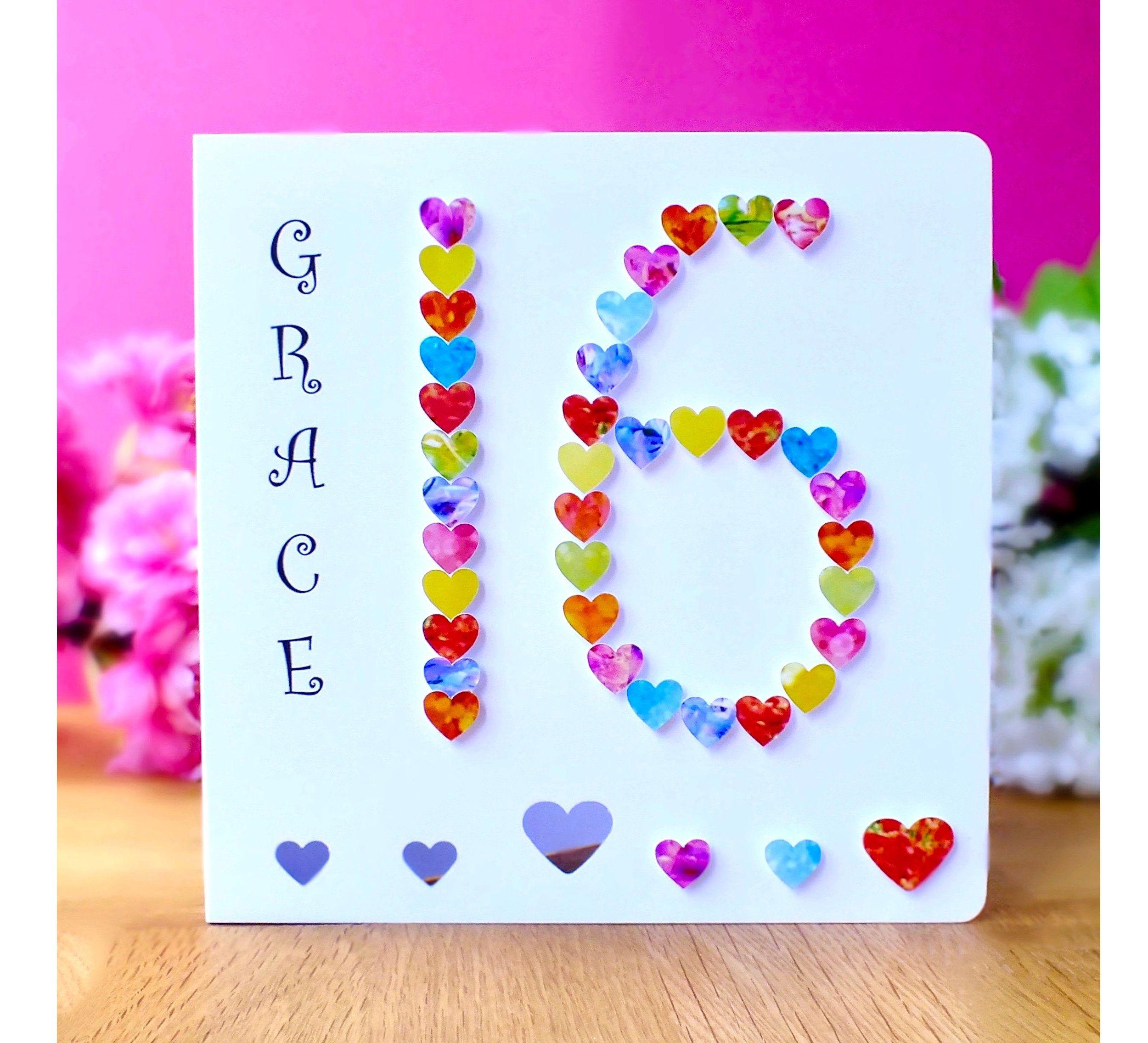 16th Birthday Card Personalised Age 16 Birthday Cards Etsy 16th Birthday Card Handmade Birthday Cards Birthday Cards