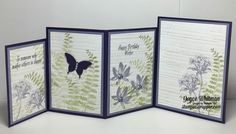 This is a fun creative fold card called Four Fold. I made it as a birthday card using Avant Garden, Gorgeous Grunge and Butterfly Basics stamp sets from Stampin' Up! is a fun creative fold card called