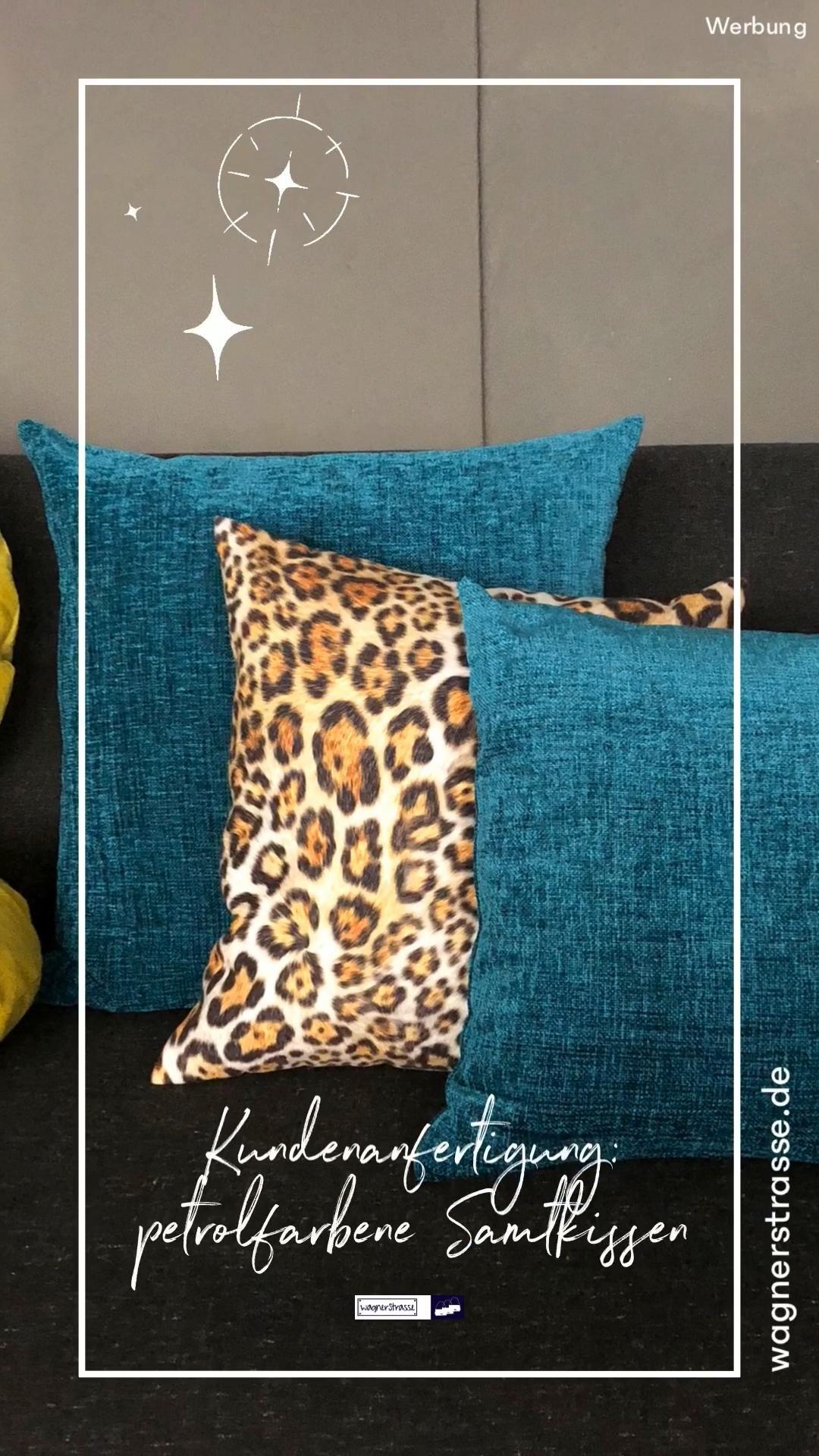 Samt Kissen Petrol Blau Velvet Cushion Sofakissen Jaguar Home Video Kissen Petrol Kissen Decken Sofakissen