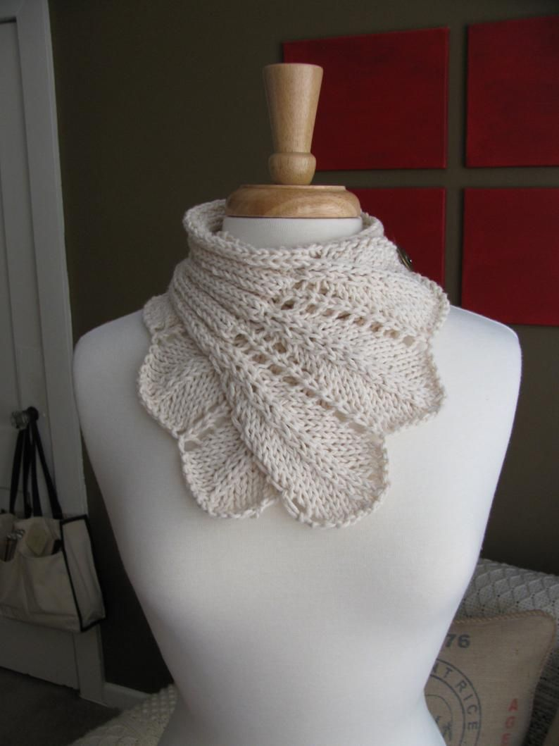 Feather Lace Buttoned Wrap Cowl pattern--PDF (With images ...