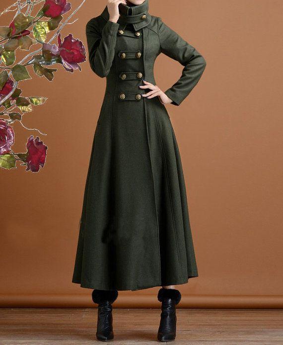 Long navy green cashmere dress coat big sweep women wool ...
