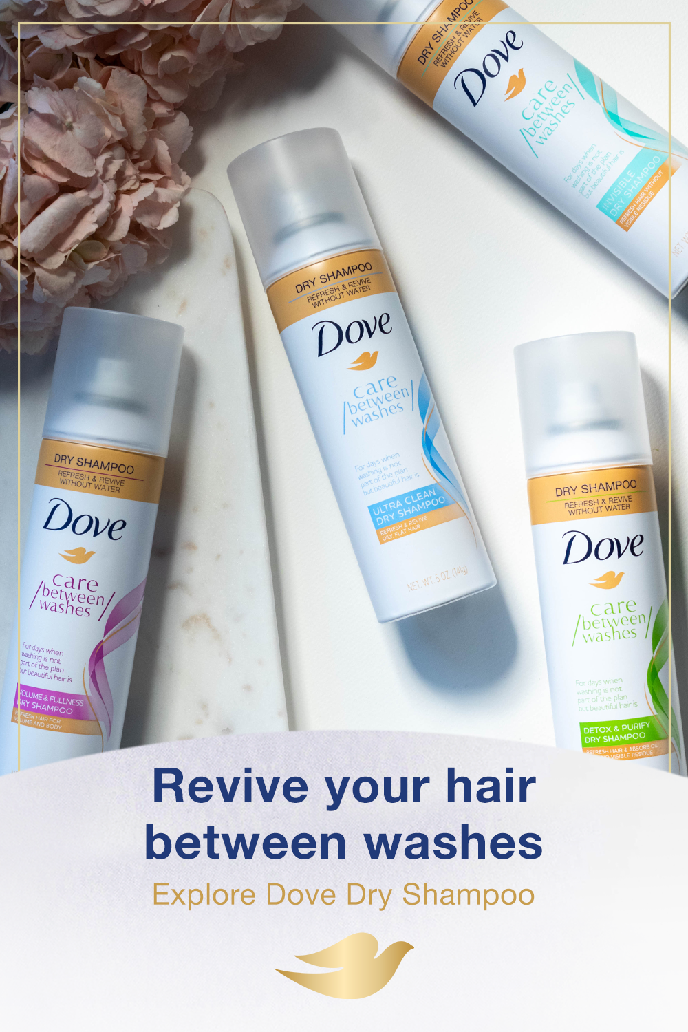 When you don't have time for a full wash with water, Dove
