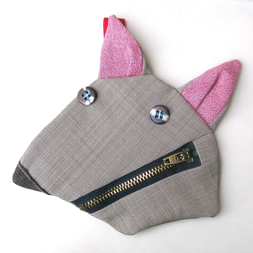 Squirrel coin purse - key holder - from upcycled fabrics