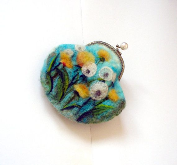 Wet Felted dandelions FLOWER coin purse Ready to Ship by MSbluesky, $56.00