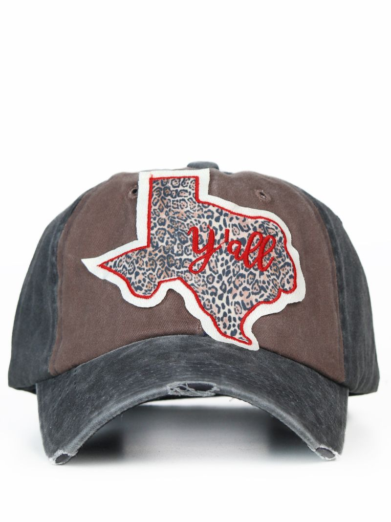 Accessories    Leopard Texas Y all Patch on Brown   Black Distressed ... 44b8a49acb22