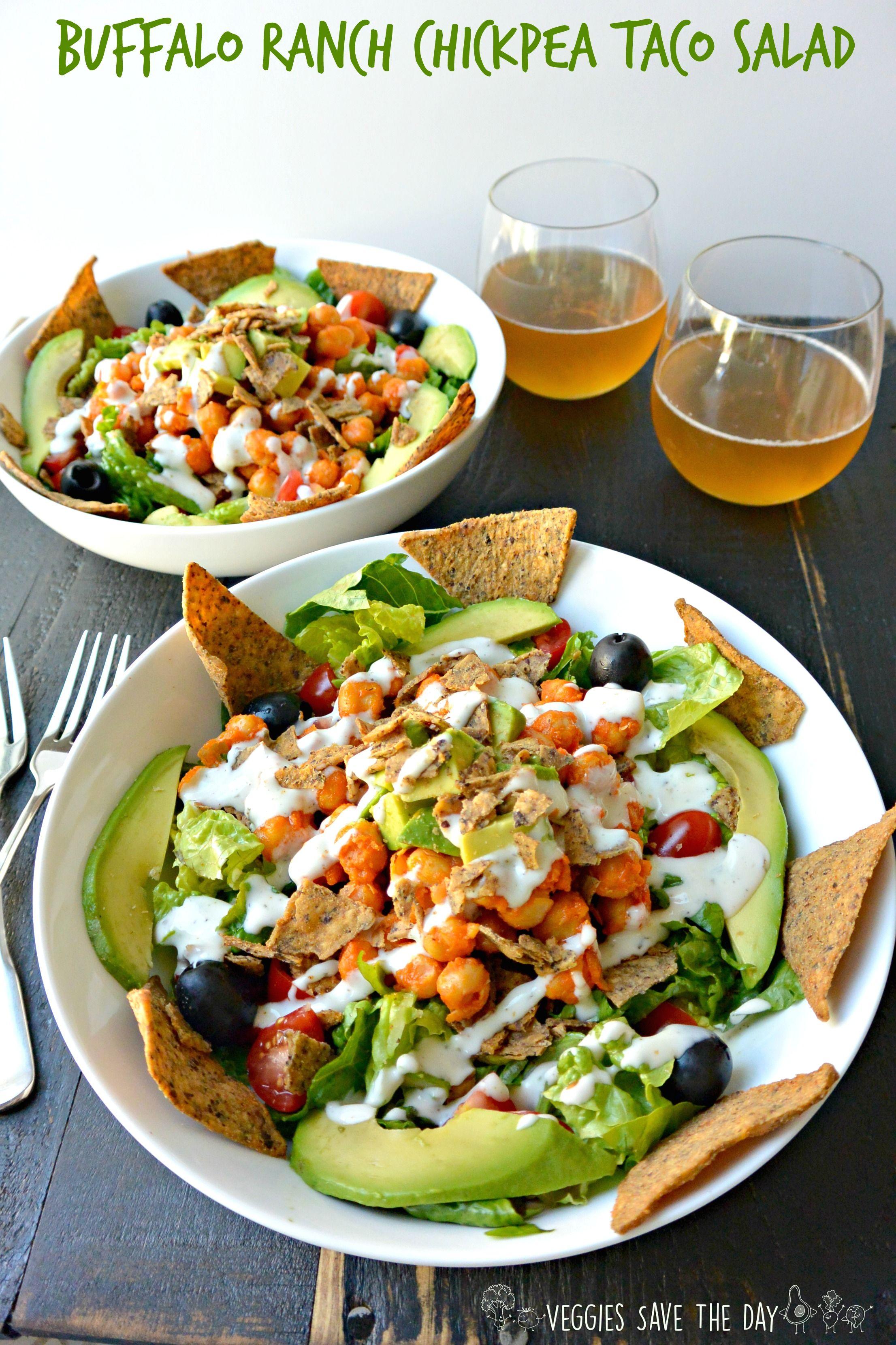 Buffalo Ranch Chickpea Taco Salad (vegan, gluten-free)
