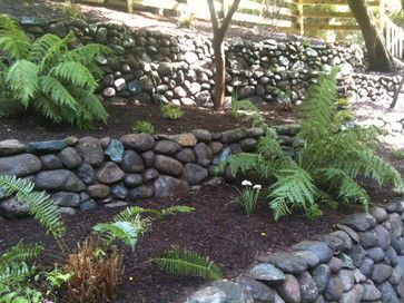 Building A River Rock Wall Landscape River Rock Wall Design Ideas Pictures Remodel And Decor River Rock Landscaping Rock Wall Landscape Landscaping With Rocks