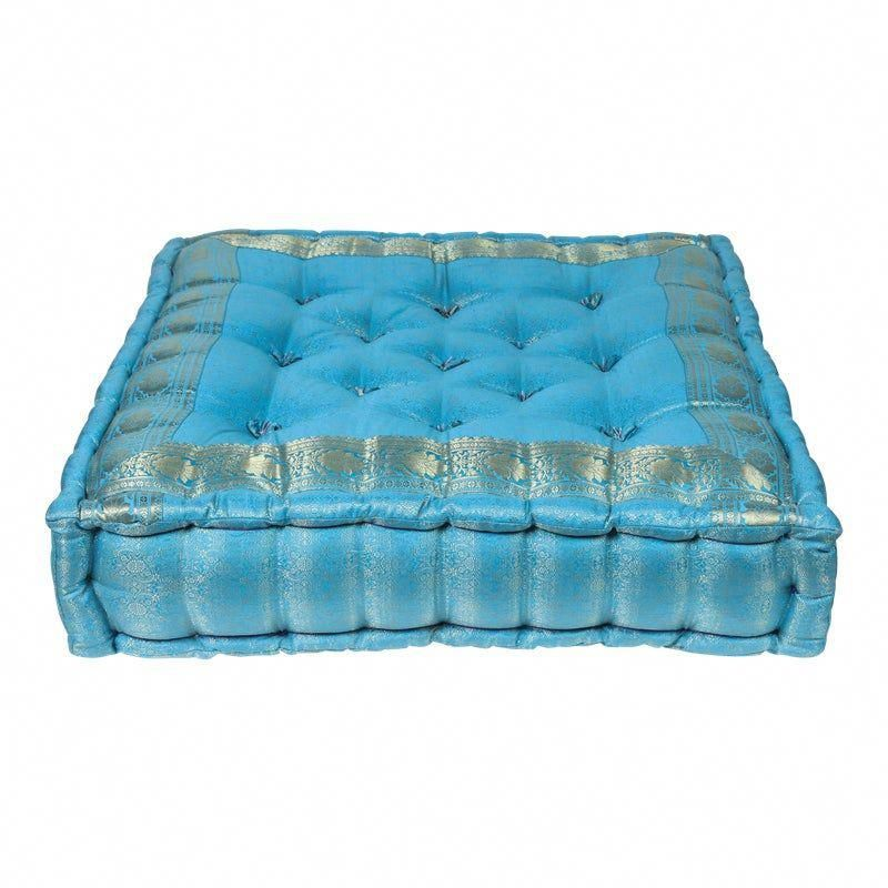 Vintage Mid Century Moroccan Oversized Turquoise Tufted Floor Pillow Cushion In 2020 Floor Pillows Turquoise Pillows Pillow Cushion