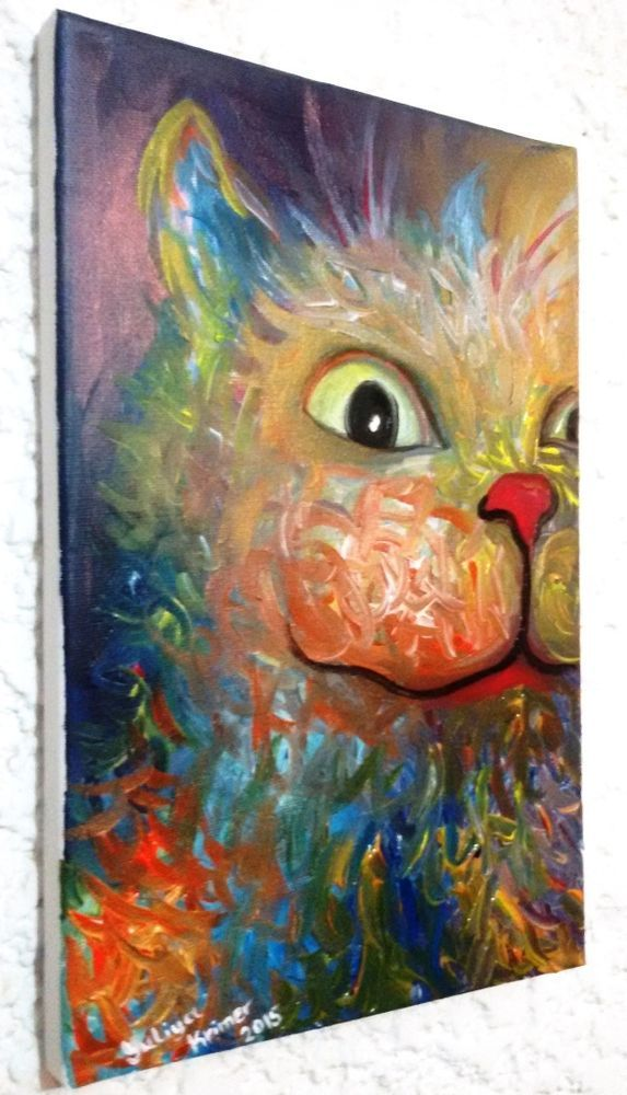 """Original Abstract Cat """"Bringing Luck"""" Acrylic Canvas Painting Art 11"""" 2015 New #Abstract"""