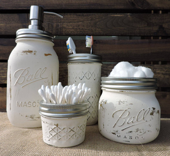 White Mason Jar Bathroom Set White Bathroom Decor Rustic Bath Decor Mason Jar Bath Set Mason Jar Bathroom Mason Jar Bathroom Decor Mason Jar Soap Dispenser
