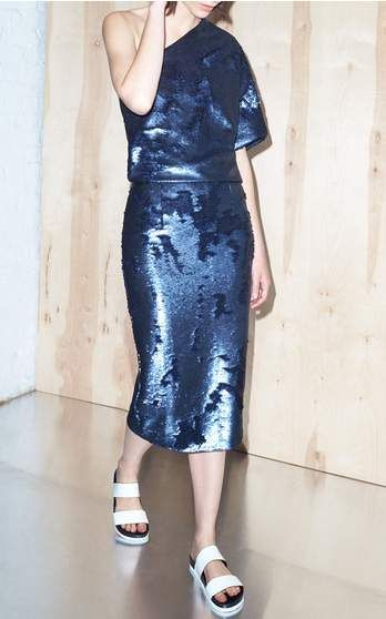 Sally LaPointe blue sequin dress - Resort 2016 Look 18 on Moda Operandi