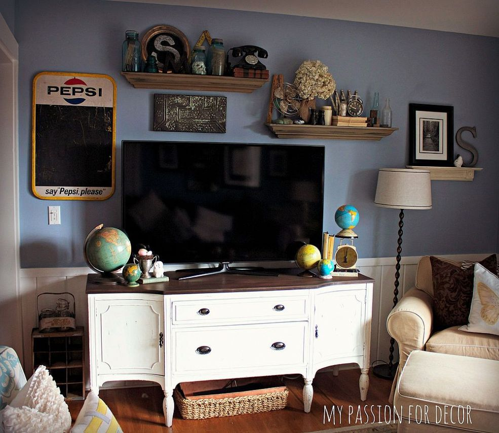 Craigslist Buffet Turned Media Cabinet Furniture Makeover Furniture Home Decor
