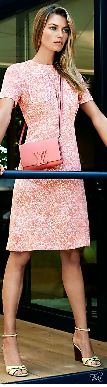 Louis Vuitton.Love this dress!  I may not wear a Louis Vuitton, but I can certainly find a close likeness!  LOVE THIS WHOLE LOOK!
