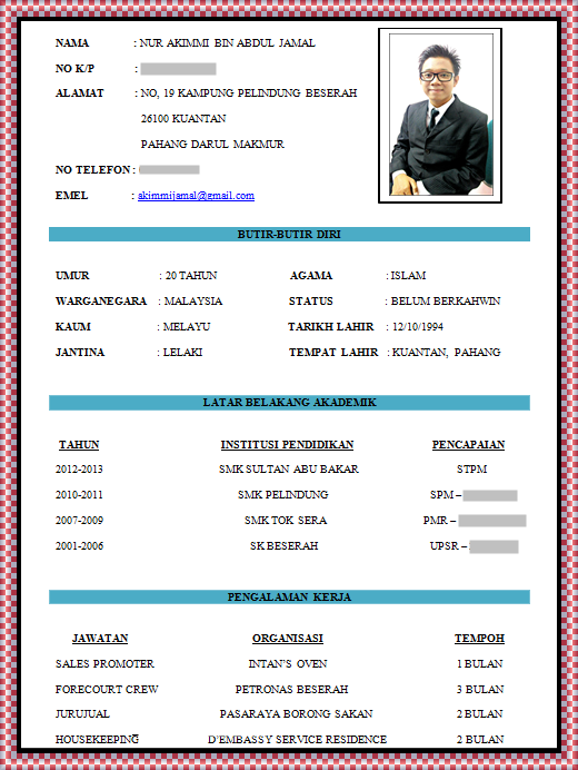contoh format resume resume ideas