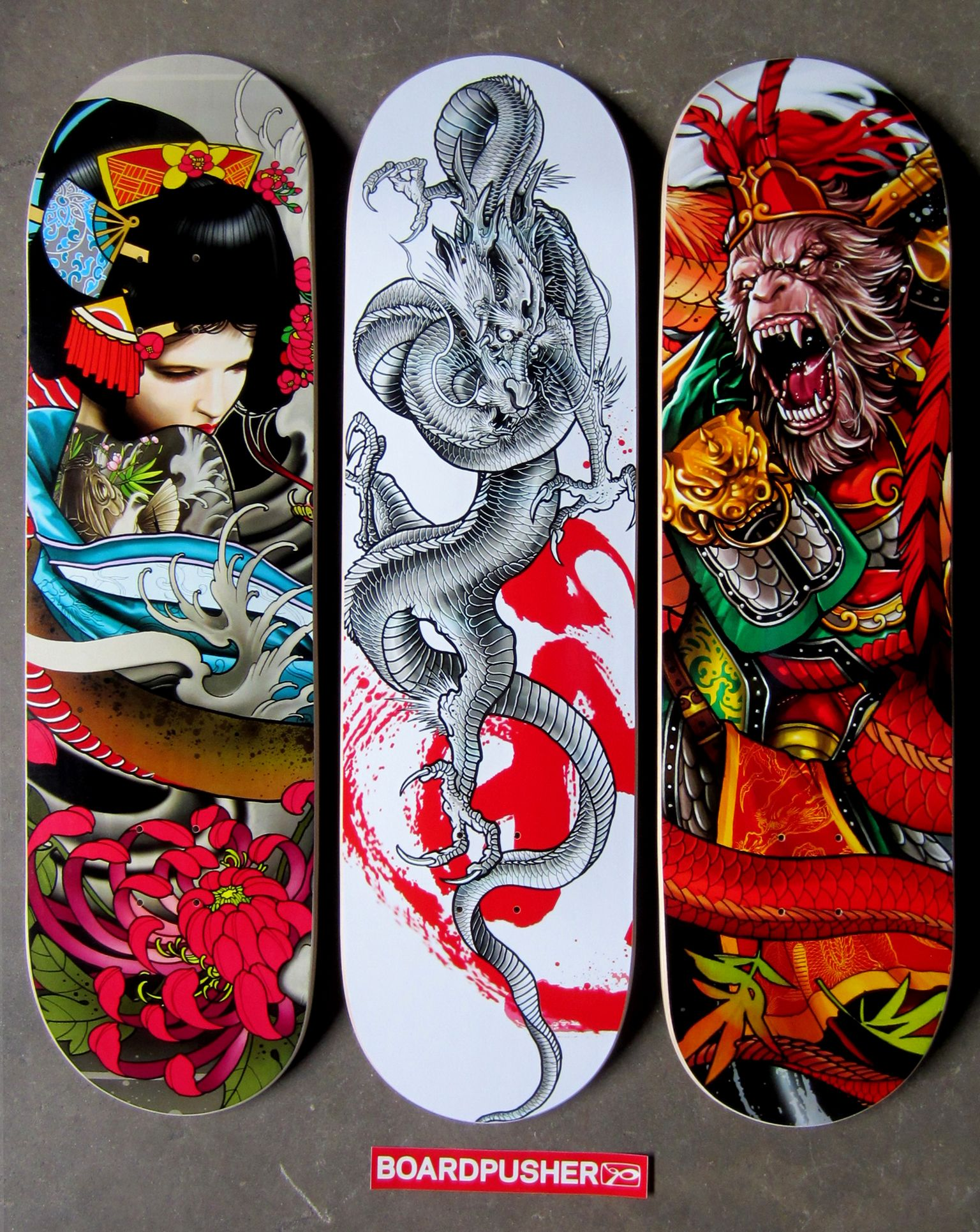 """Three more Featured Decks from Singaporean tattoo artist Elvin Yong """"Geisha"""", """"Dragon"""", and """"Monkey King"""" as well as all of Elvin's skateboard designs are available at www.BoardPusher.com/shop/elvintattoo."""