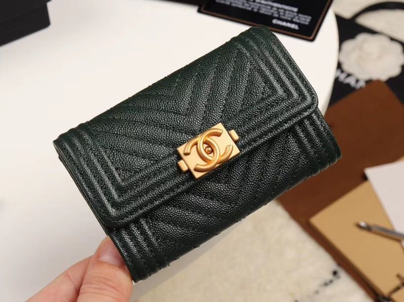 Chanel cc boy card case holder v pattern green wallet
