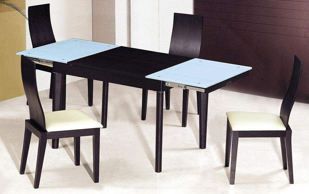 Extendable Wooden With Gl Top Modern Dining Table