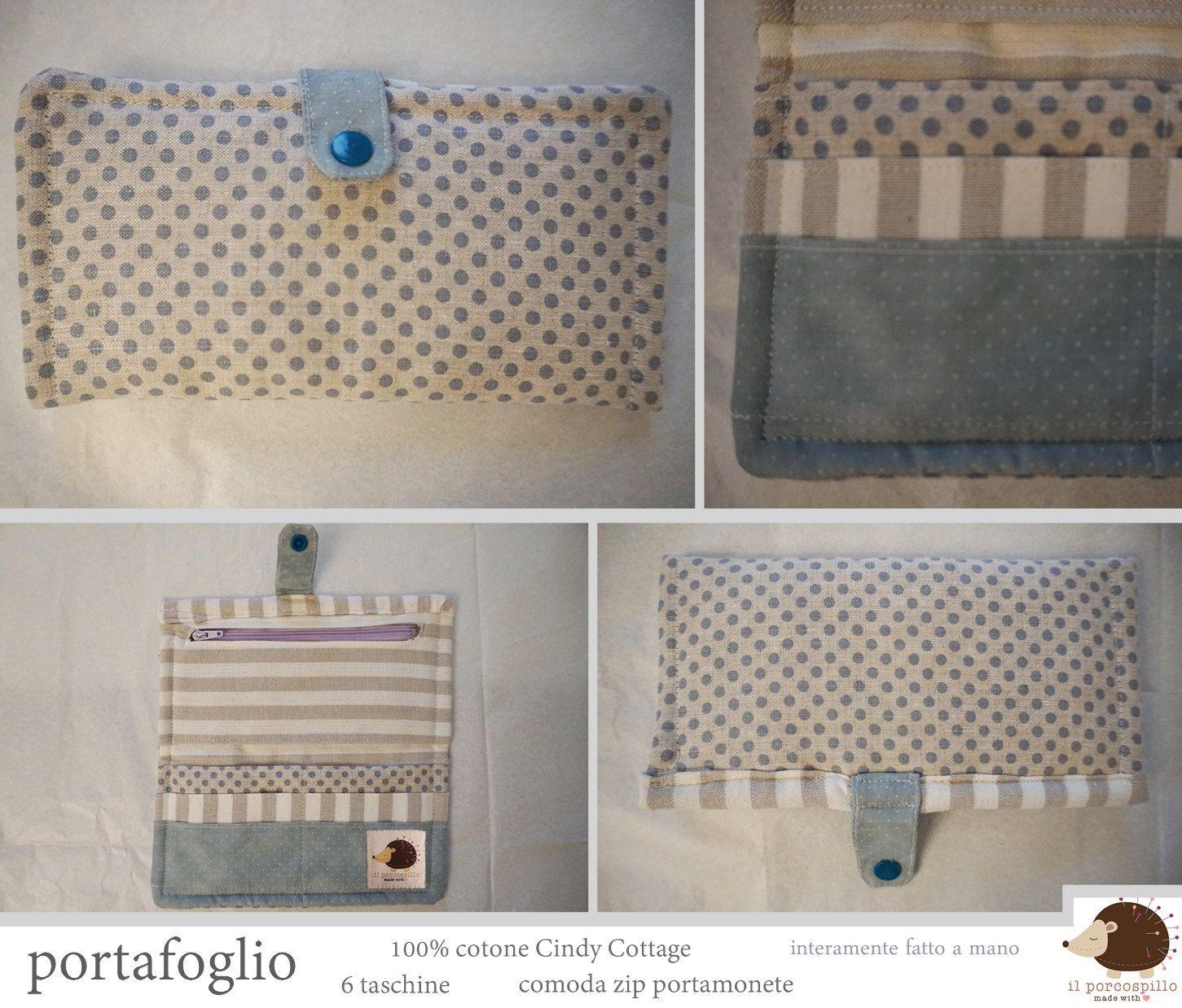 Portafoglio in stoffa con taschine e Zip - 100% Handmade di ilPorcospillo su Etsy
