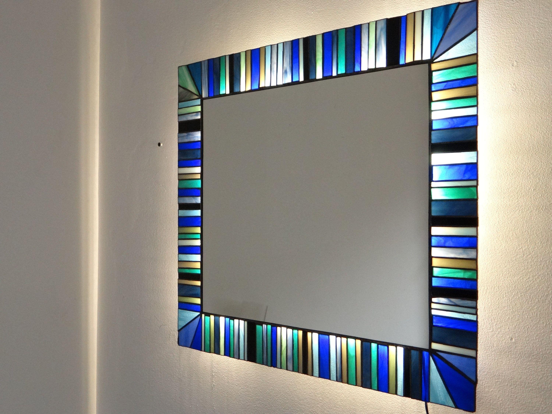 Wall mirror mosaic wall art bathroom mirror illuminated panel