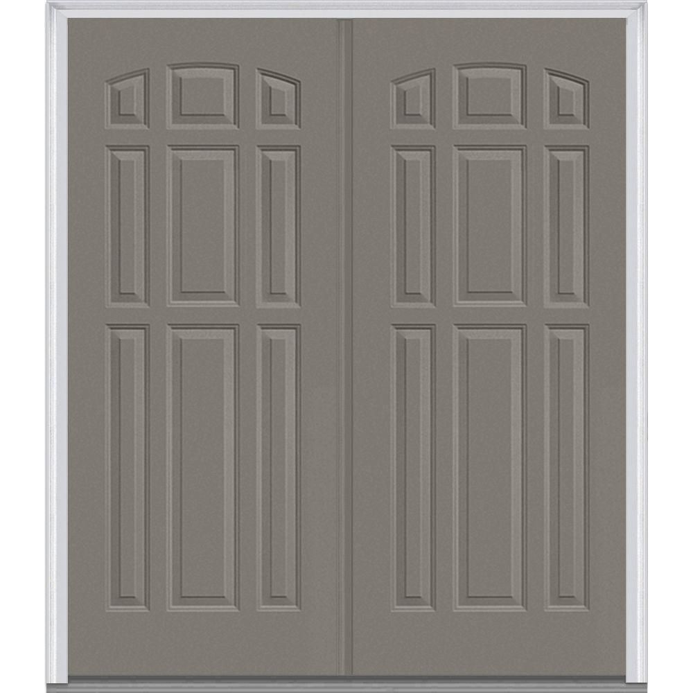 Milliken Millwork 74 in. x 81.75 in. 9 Panel Painted Fiberglass Smooth Exterior Double Door, Dovetail