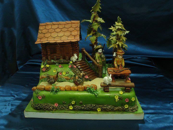 Log Cabin Cake With Images House Cake Cake Woodsy Cake