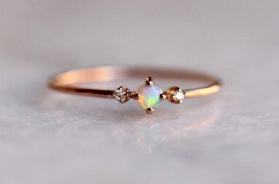 14k Rose Gold Opal Ring Diamond Opal Ring Diamond Ring Natural