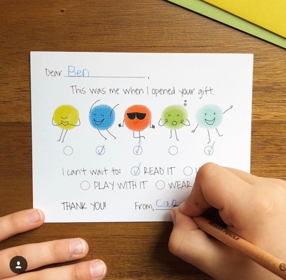 Kid Who Can Fill In Thank You Notes Kids Thank You Notes Fill In