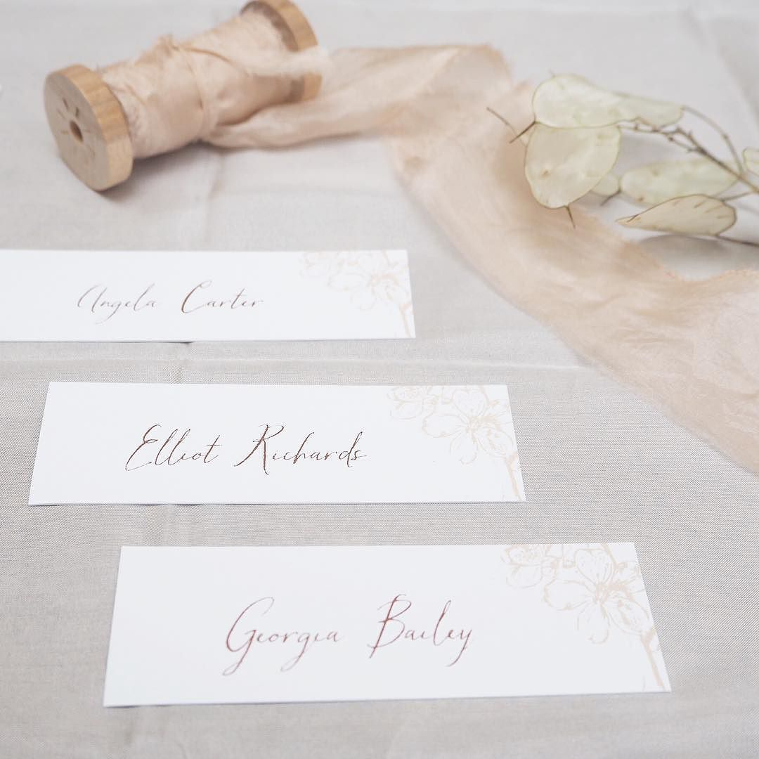 Delicate and elegant blossom place cards