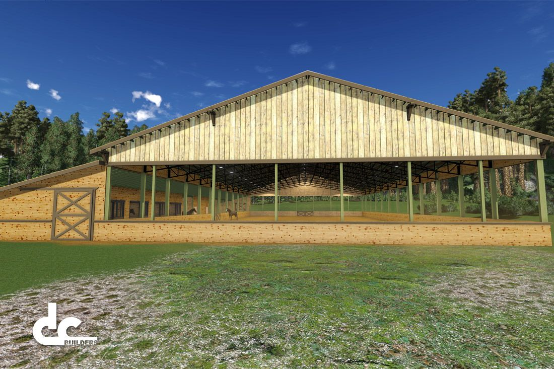 Arena & Stable 144' | Covered Riding Arena Floor Plans | DC Building