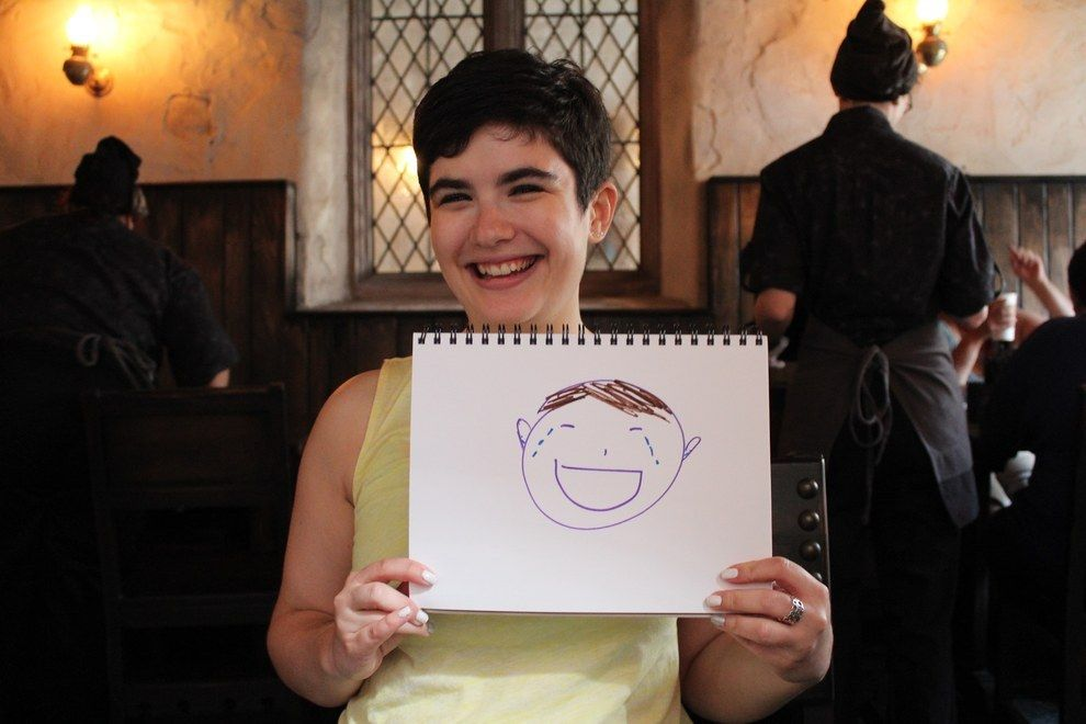 """21 Emotional """"Harry Potter"""" Fans At The Diagon Alley Opening In Florida  BuzzFeed asked die-hard Potterheads to draw their emotional state while at the Diagon Alley opening at Universal Studios Florida. The results are adorable."""