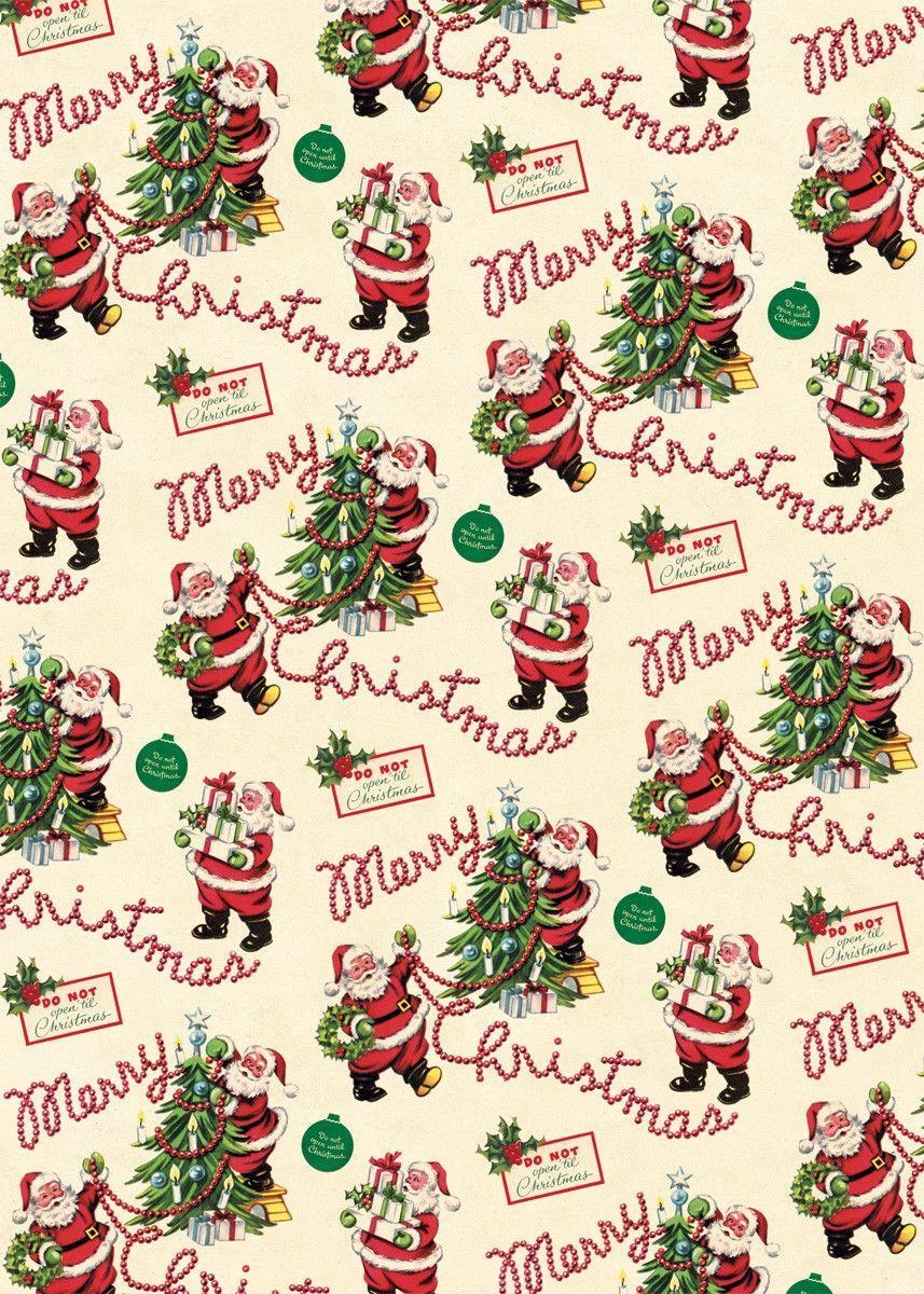Vintage Santa Wrap J19 Vintage Christmas Wrapping Paper Christmas Ephemera Christmas Paper