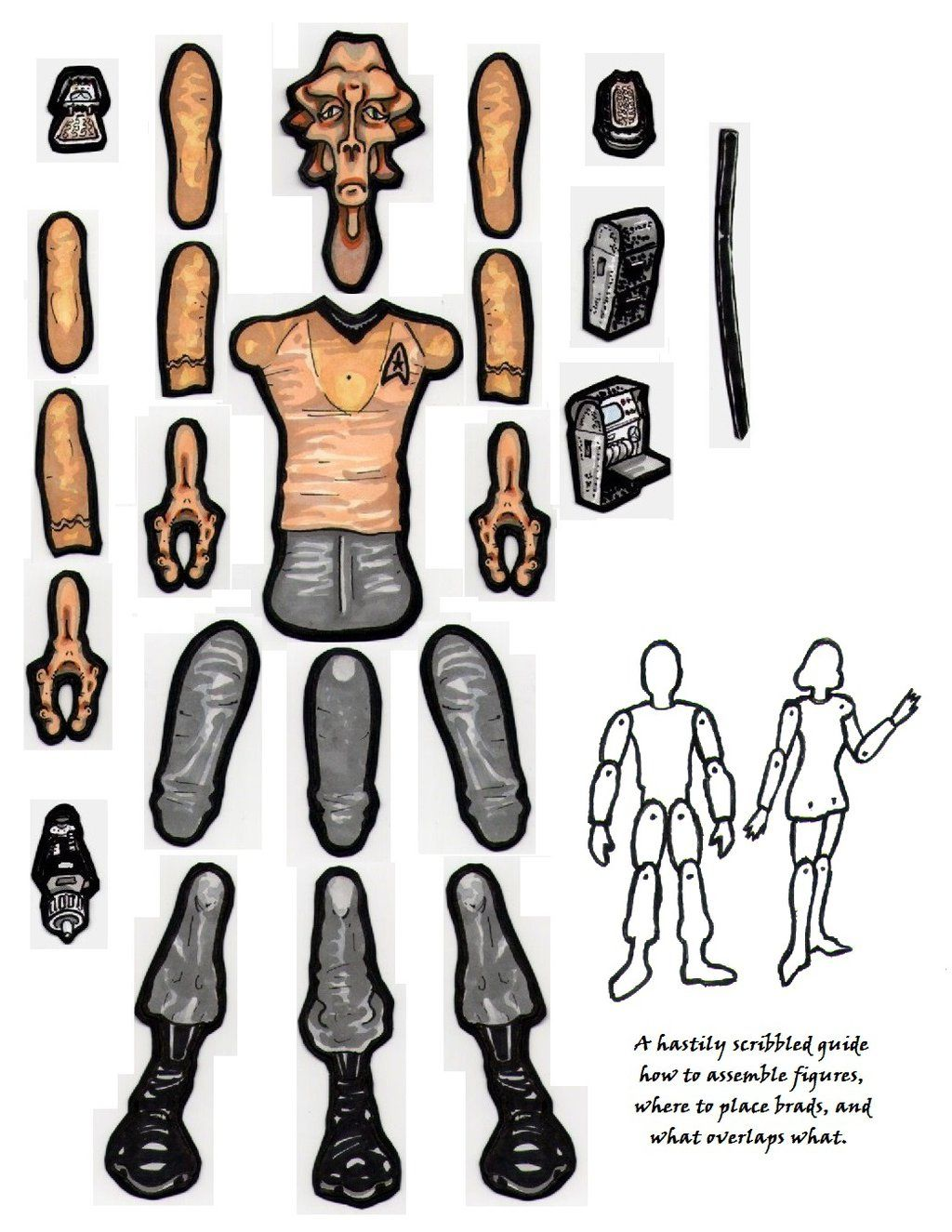 Lt. Arex Star Trek paper doll figure parts. by MadunTwoSwords ...