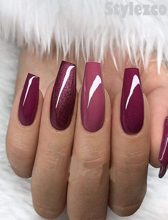 berry red shades nail design &