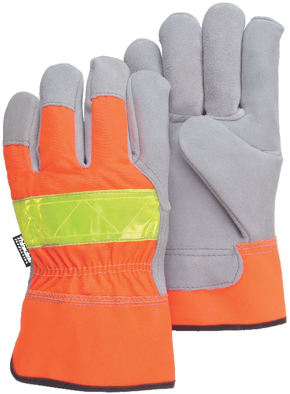Leather work gloves with thinsulate lining - Majestic 1954t Hi Vis Orange Back Cowhide Leather Palm Work Gloves Safety Cuff Thinsulate Lined
