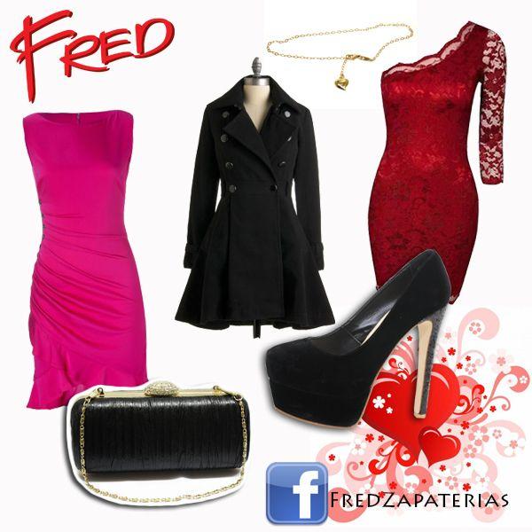 #Outfit #FredZapaterias #Red #Pink #Rojo #Rosa #Shoes #Tacones #Bag #Accesorios #Corazon #Pulsera