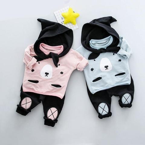 2pcs kids baby boy Little Bear topst+pants Outfits/&set boy autumn clothes set