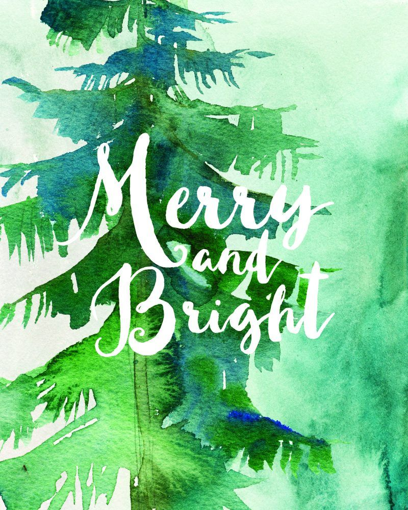 Free Christmas Watercolor Printable Art Christmas Printables