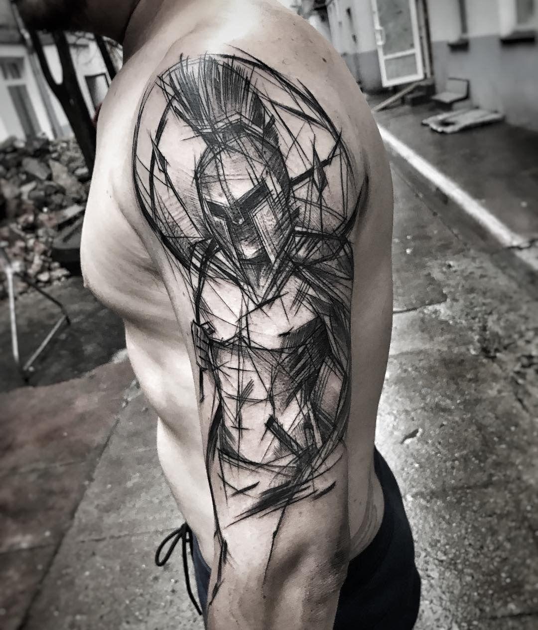 Interessante Design Art Positives Gefühl Oberarm Tattoo