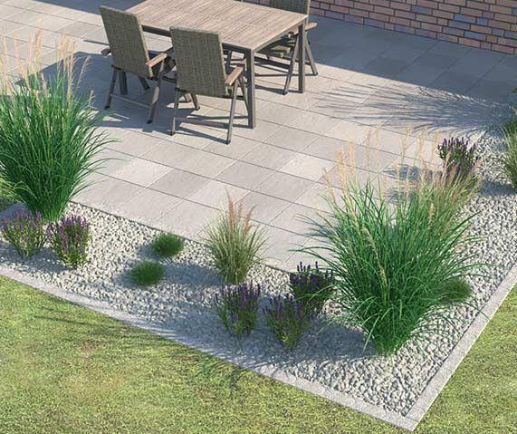 Terrassenboden #vorgartenanlegen Beet mit einzelnen Gräser für sonnige Lichtbedingungen