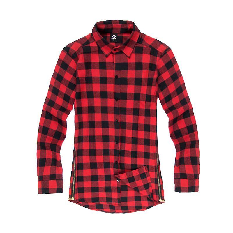Hip Hop Scottish Plaid Long Sleeve Flannel shirt Men/ Dance Bboy Shirt  Golden Side Zipper