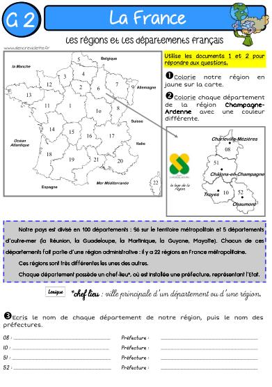 LA FRANCE   Géographie, Géométrie ce2 et Géographie ce2