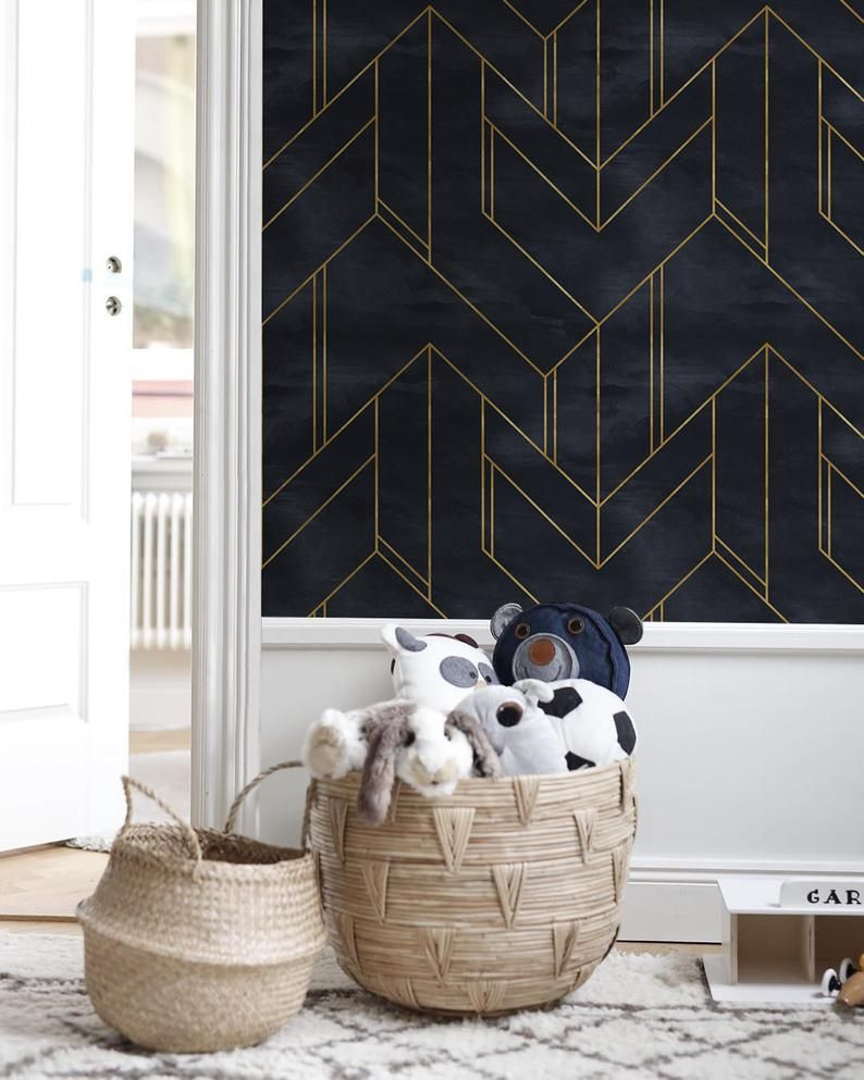 Removable Wallpaper Peel And Stick Wallpaper Wall Paper Wall Etsy Geometric Wallpaper For Walls Geometric Wallpaper Wall Wallpaper