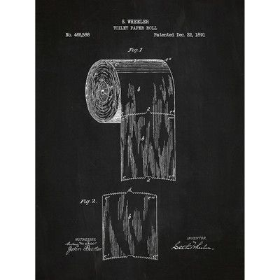 Inked And Screened Novelty Toilet Paper Silk Screen Print Graphic Art In Chalkboard White Ink With Images Toilet Paper Patent Print Toilet Paper Patent