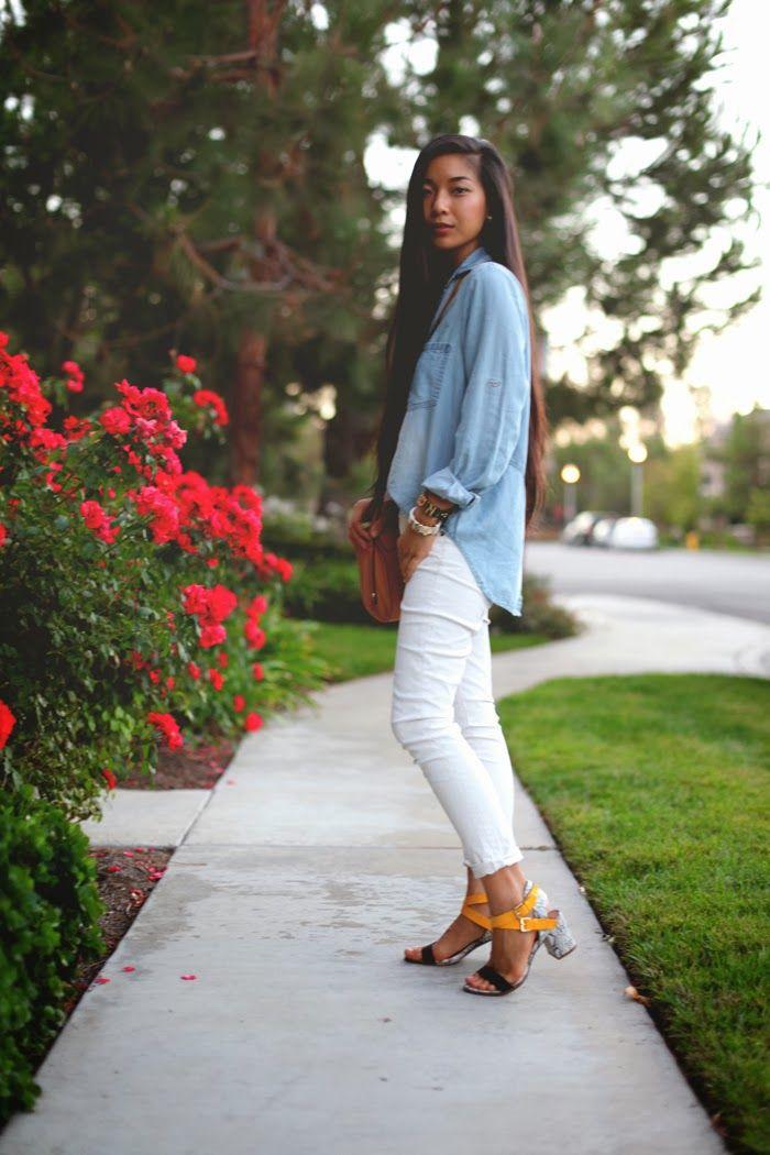 Stephanie Liu of Honey & Silk wearing Bella Dahl shirt, Rich & Skinny jeans, Kelsi Dagger heels, and Phillip Lim for Target bag.