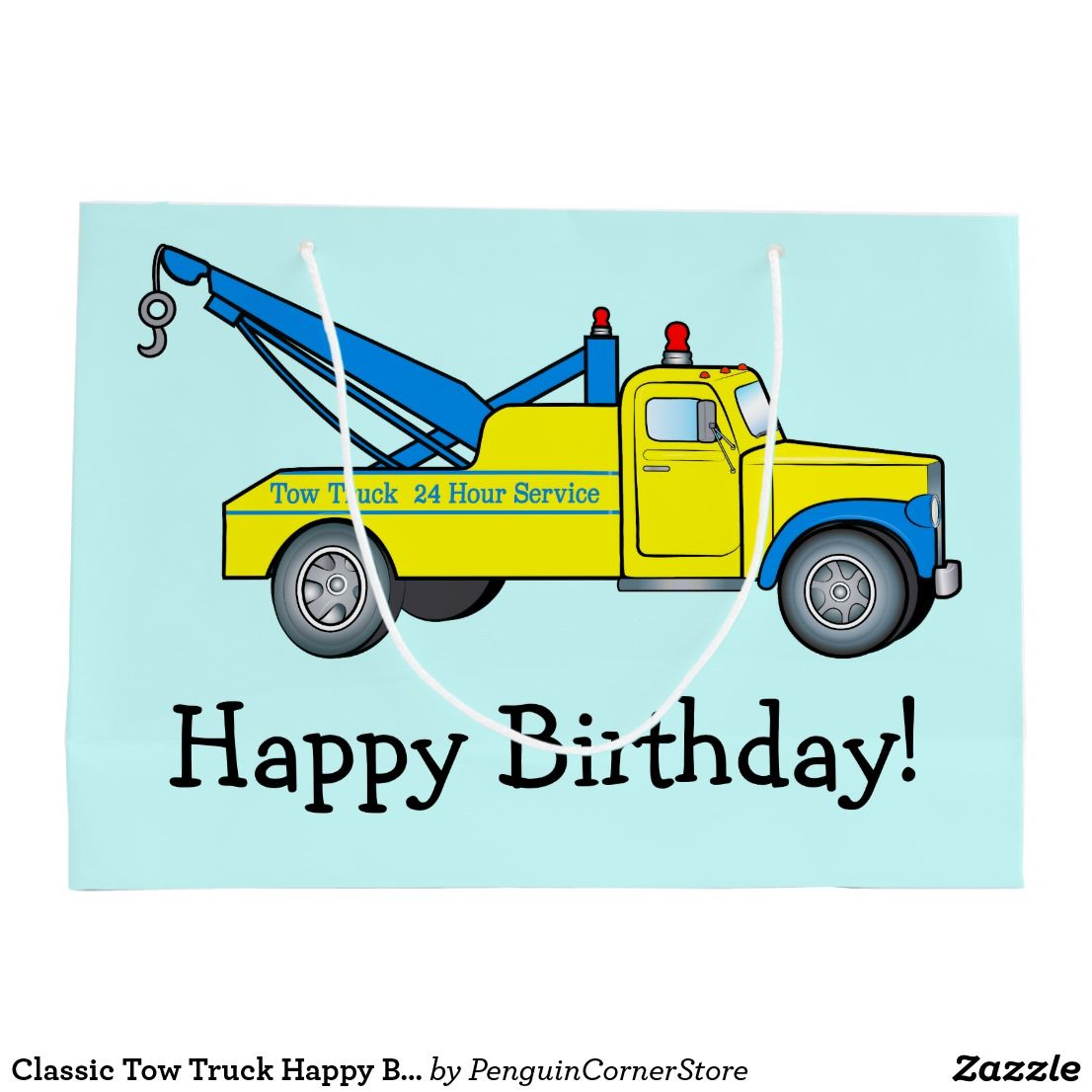 Classic Tow Truck Happy Birthday Large Gift Bag Zazzle Com Tow