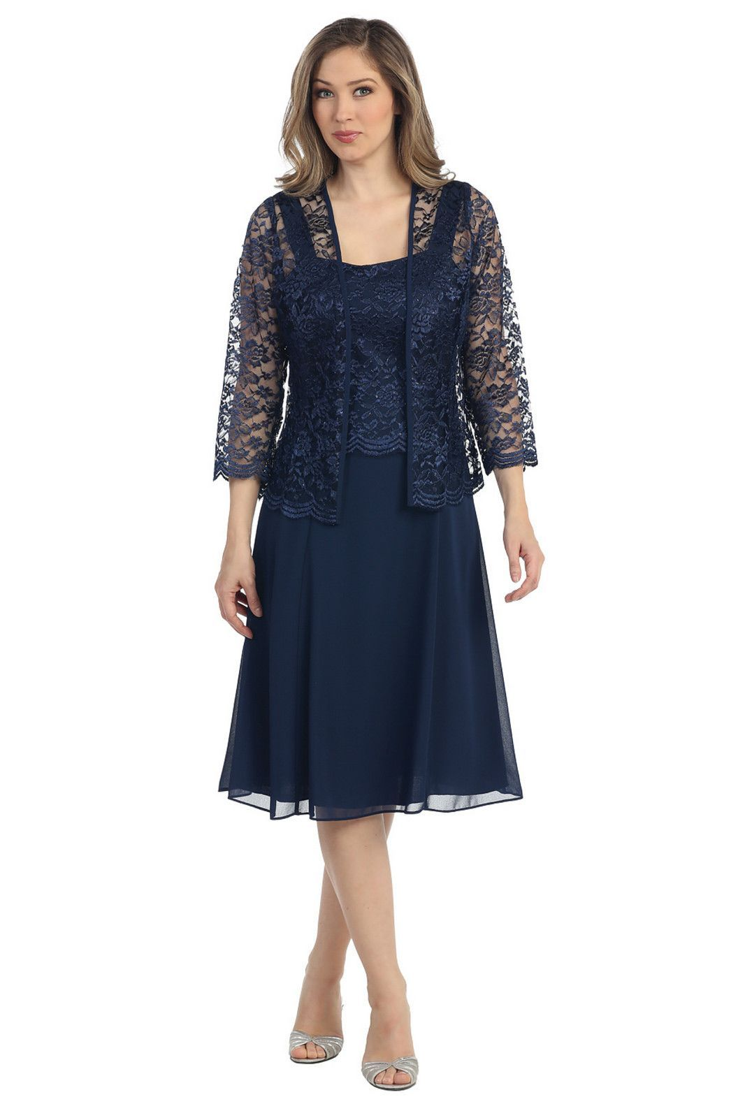 bdacecb42e42a Short Mother of the Bride Dress with Jacket Plus Size Formal Cocktail - The  Dress Outlet - 4