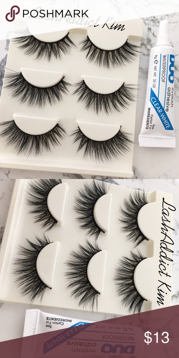 621d94f469a Mink lashes mink Eyelashes & duo Glue Set Makeup 3 Wsp Lashes + Glue Brand  New