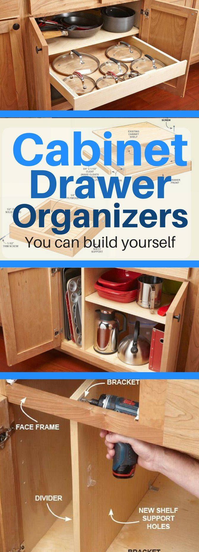 kitchen cabinet u drawer organizers you can build yourself